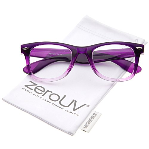 zeroUV - Classic Thick Square Clear Lens Horn Rimmed Eyeglasses 50mm (Purple-Fade / - Frames Plastic Eyeglass Thick