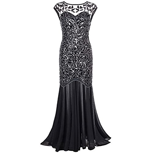 Kayamiya Womens 20s Beaded Floral Maxi Long Gatsby Flapper Prom Dress L Black