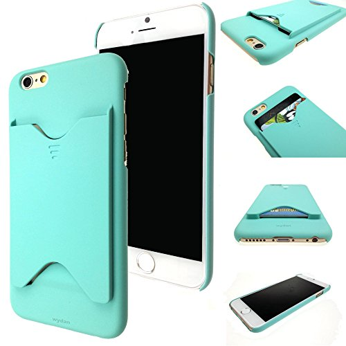 Wydan Rubberized 1 Piece Thin Credit Card Id Holder Hard Case Cover  Holds 2 Cards  For Apple Iphone 6 4 7    Mint Green