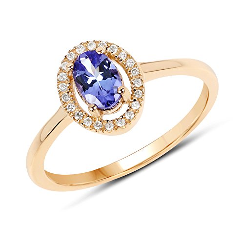 14K Yellow Gold Tanzanite & White Diamond Ring (0.50 cttw, I-J Color, I2-I3 Clarity) from Johareez ()