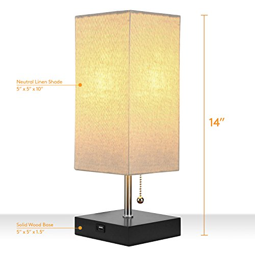 Brightech Grace LED USB Bedside Table & Desk Lamp – Modern Lamp with Soft, Ambient Light, Unique Lampshade & Functional USB Port – Perfect for Table in Bedroom, Living Room, or Office - Black by Brightech (Image #5)
