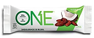ONE Protein Bar, Almond Bliss, 2.12 oz. (12 Pack), Gluten-Free Protein Bar with High Protein (20g) and Low Sugar (1g), Guilt Free Snacking for Healthy Diets