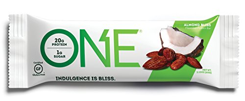 ONE Protein Bar, Almond Bliss, 20g Protein, 1g Sugar, 12-Pack (packaging may vary) (Bar 1)