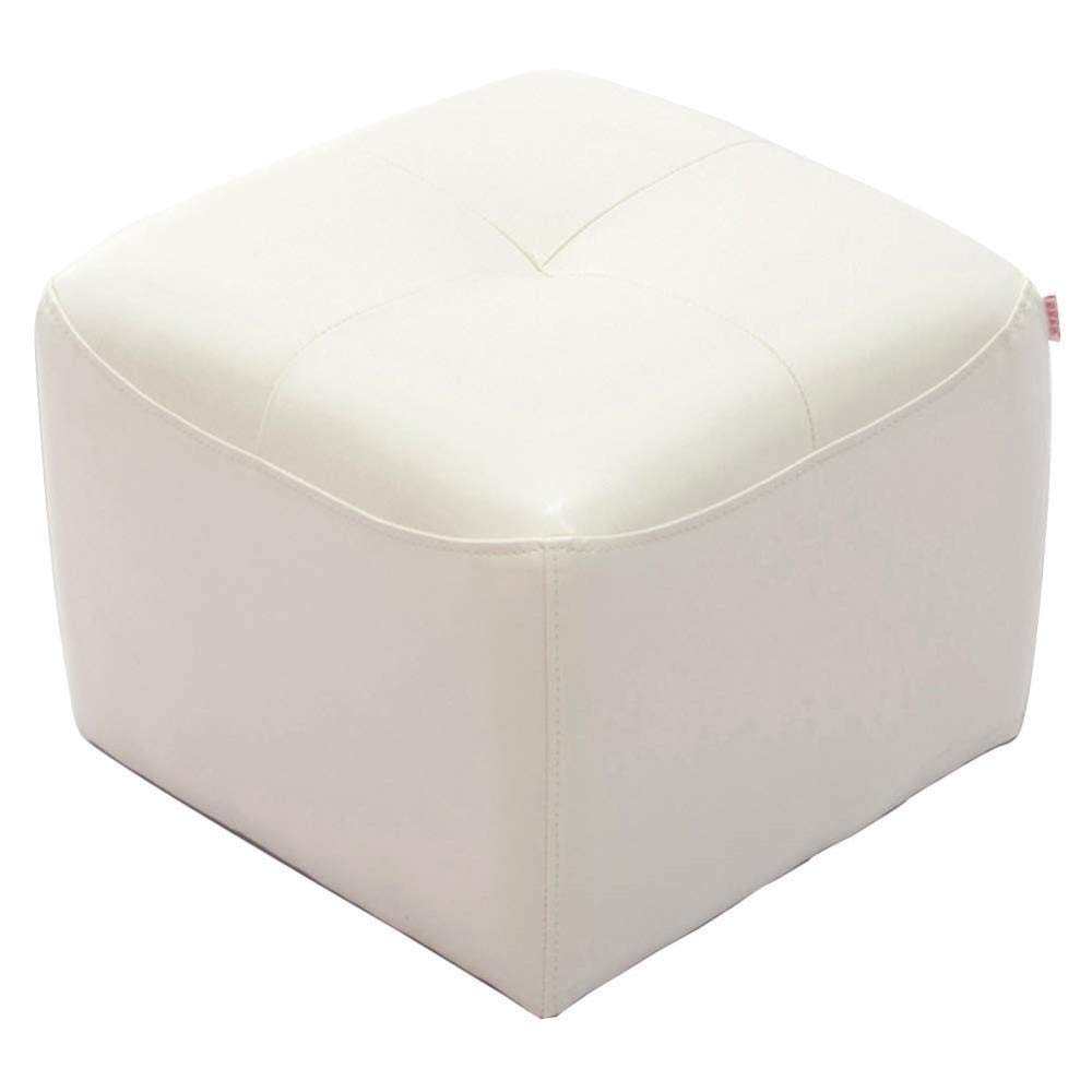 White Footstool, Leather Stool Household Living Room Small Change shoes Seat Bench (color   Green)
