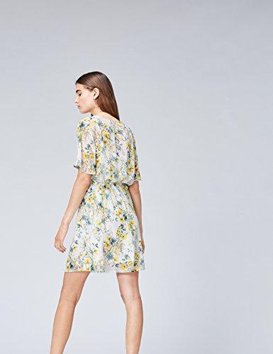 Find Donna yellow Fiori Vestito A Mini Mix Multicolore rFxprw