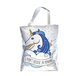 Handy Cotton Zip Up Shopping Bag - Unicorn by Dochsa