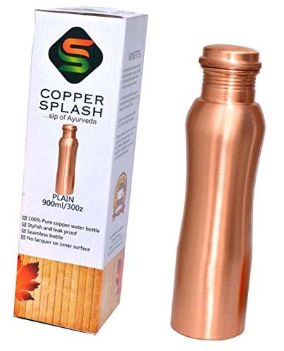 Copper Splash-Pure Copper Water Bottle-Ergonomic style-Plain finish-Ayurvedic tumbler-30oz