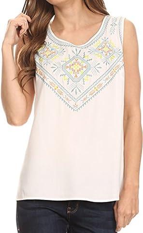 Sakkas TA14439 - Elita Sleeveless Tank Top Batik Aztec Embroidered Shirt Blouse - White - 3X (Sakkas 3x)