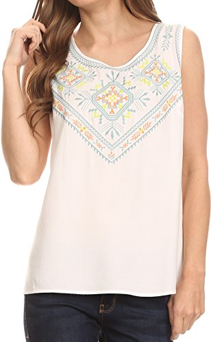 (Sakkas TA14439 - Elita Sleeveless Tank Top Batik Aztec Embroidered Shirt Blouse - White - M)