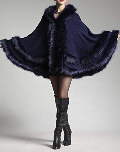 capuche Poncho de femmes Bleu fourrure faux renard cape Fonc Double couche PLAER Rx1gnI