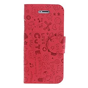 tubanliudongdong Fancy World Pattern PU Full Body Case with Card Slot and Stand for iPhone 5/5S (Assorted Colors) , Pink