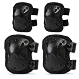 LIHAO Knee Pads Protector Adjustable Elbow Pads for Adults Children Cycling Ice Skating Mountain Climbing CS Equipment (Pack of 4) - Knee Pad 15 x19 cm/Elbow Pad 13 x 16.5 cm
