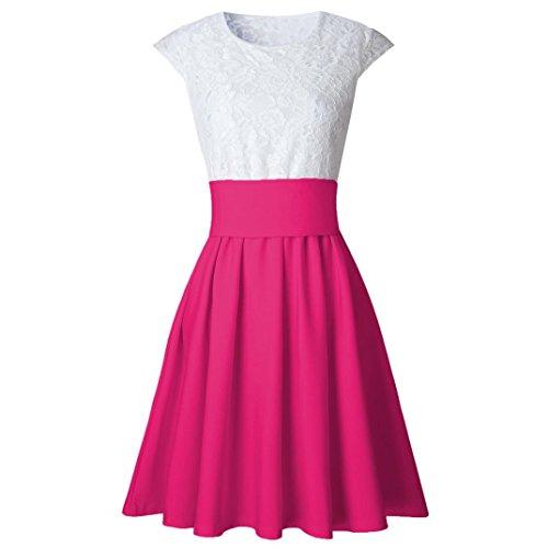 Vestido de verano, RETUROM Vestiti corti donna pattinatore a maniche corte donna per studente Rosa caliente