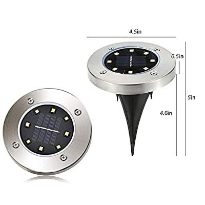 CFKJ 12 Pack Solar Powered Disk Lights, 8LED Solar Pathway Lights Solar Ground Lights,Solar Garden Light Outdoor Waterproof Garden Landscape Lighting for Yard Deck Lawn Patio Walkway-White