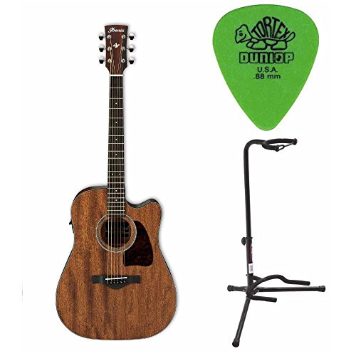 Ibanez AW54CEOPN Artwood Dreadnought Acoustic/Electric Guitar Open Pore Natural Includes Guitar Stand and Pics