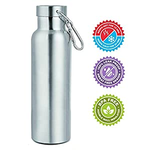 Hot and Cold Sports Water Bottle - Thermos - Top Quality - BPA-Free - Stainless Steel Vacuum Insulated Double Walled Construction - Leak Proof ( 25 Ounce )
