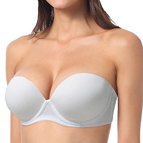YBCG Push up Strapless Convertible Thick Padded Underwire Supportive Bra for Women's Wedding,36C White