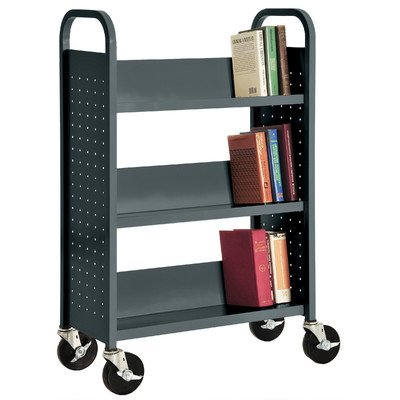 Sandusky Lee SL330-02 Single Sided Sloped Shelf Book Truck, 14'' Length, 32'' Width, 46'' Height, 3 Shelves, Charcoal