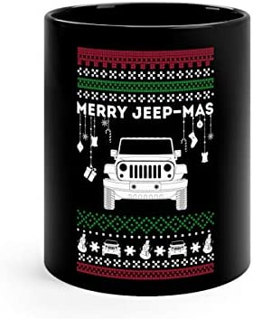 MERRY JEEPMAS JEEP UGLY CHRISTMAS SWEATER TSHIRT Tea Fun Mug Ceramic Cup 11oz Black