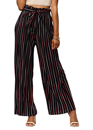 (Conceited Women's Paper Bag Waist Wide Leg Pleated Palazzo Pants - Paper Bag - Love at First Stripe - One Size - PB902-01-Reg)
