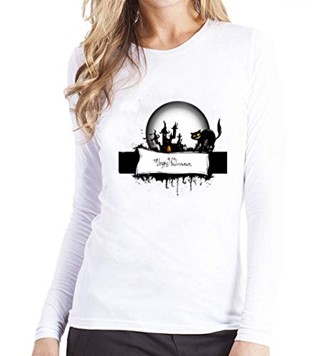 TWGONE Women Plus Size Halloween Printing Tees Shirt Long Sleeve T Shirt Modal Blouse(US-10/CN-XL,Black) -