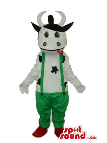 Cute Cow Animal Plush Mascot SpotSound US Dressed In Green Overalls (Plush Cow Mascot Costume)