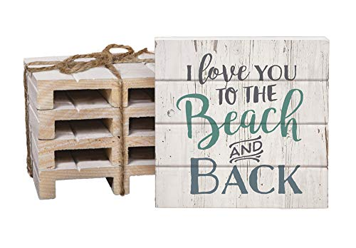 I Love You To The Beach And Back 4 x 4 Inch Dried Pine Wood Pallet Coaster, Pack of 4