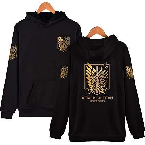 Unisex Attack On Titan Survey Corps Wings of Freedom Hooded Sweatshirt Pullover Coat Freedom Wings Top (Black1, Asia Tag - Wings Freedom