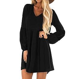 YOINS Women Long Sleeve Mini Dresses Ladies Wedding Elegant Dress Spring V Neck Long Shirt Loose Tunic Dresses Black M