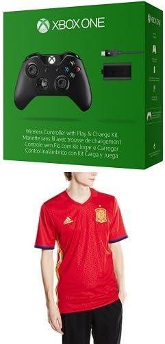 Microsoft - Pack Mando Wireless + Kit Carga Y Juega - Nueva Edición (Xbox One) + 1ª Equipación Selección Española de Fútbol Euro 2016 - Camiseta oficial adidas, talla XL Authentic: Amazon.es: Videojuegos
