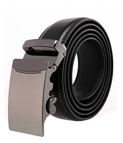 Designer Style Belt Buckle (ITIEZY Men's Leather Belt Ratchet Automatic Buckle (Sliding Buckle) Belt Man Designer Black Luxury)