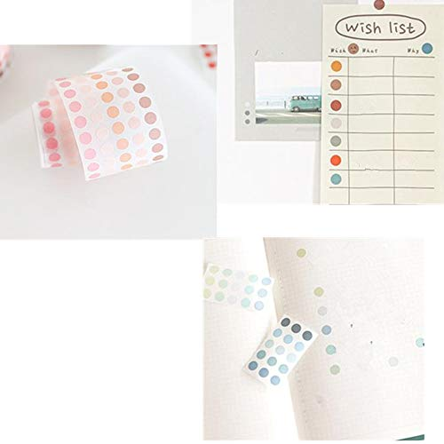 Bullet Journals Diary Planner Scrapbook Photo Ablums Gifts Wrapping Random Pattern EXCEART 8pcs Colorful Dots Washi Tape Round Stickers Masking Washi Tapes Dot Stickers Decals For Art DIY Decor