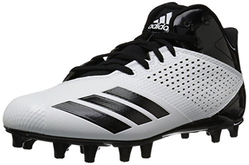 new product 3d729 ad234 adidas Mens 5.5 Star Mid Football Shoe, WhiteBlackBlack, 9.5 M