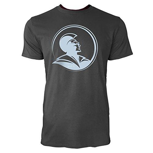 SINUS ART ® Römischer Legionär mit Helm Herren T-Shirts in Smoke Fun Shirt mit tollen Aufdruck