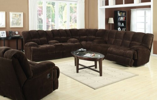3 pc Ahearn collection chocolate champion super soft microfiber fabric upholstered motion sectional sofa with - Fabric Motion Sofa