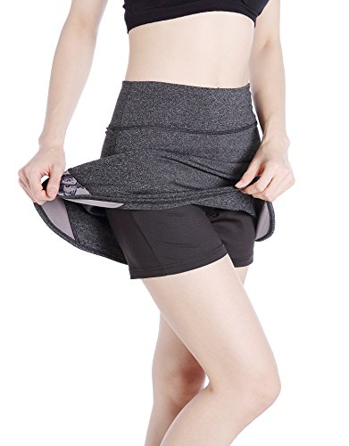 EAST HONG Women's Golf Skorts Workout Running Tennis Skorts (Gray/Pattern, (Skort Fitness Skirts)