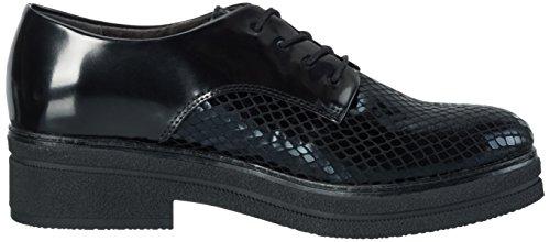 Tamaris 23310, Zapatos de Cordones Oxford para Mujer Negro (BLK/BLK STR. 069)