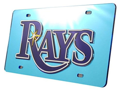 Tampa Bay Rays LIGHT BLUE Premium Laser Cut Acrylic Inlaid License Plate Mirrored Tag - Tampa Premium