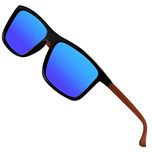Polarized Sunglasses for Men Driving Mens Sunglasses Rectangular Vintage Sun Glasses For Men/Women Dark Blue Lens/Black and Woodgrain - Black Frame Sunglass Glass