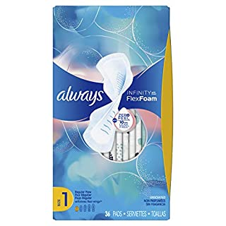 ALWAYS Infinity Size 1 Regular Sanitary Pads with Wings Unscented, 36 Count, 2 Pack (Total 72 count) (B0029NYQ38) | Amazon price tracker / tracking, Amazon price history charts, Amazon price watches, Amazon price drop alerts