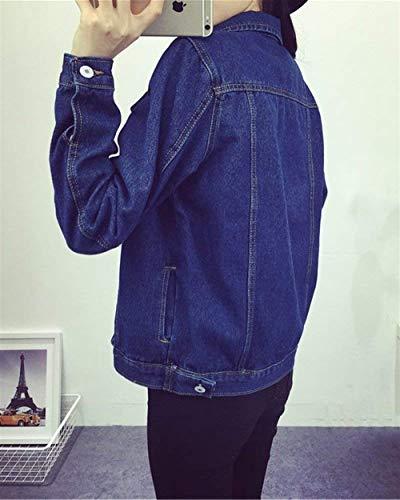Moda Tendenza Lavato Maniche Donna College Jeans Stile Bavero Giacca Autunno Libero Style Tempo Cappotto Base Relaxed Dunkelblau Festa Lunghe Blu Ragazze Primaverile Giovane TZpwT