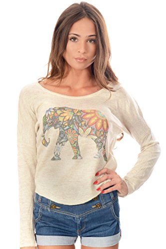 Animal Printed Crop Jumper Batwing Top Womens Girls Wear Elephant