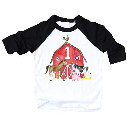 1st Birthday Boy Outfit Farm Animal First Birthday Shirt for Baby boy Black 3/4 Sleeve Raglan