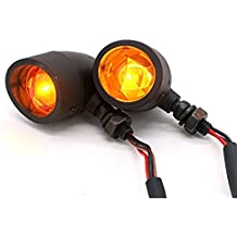 TASWK 2Pcs Heavy Duty Motorcycle Bullet Turn Signals Blinker Amber Indicator Lights Lamp (Black)