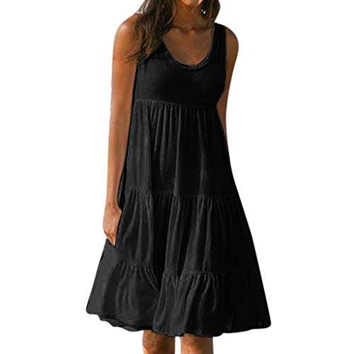 XILALU Womens Summer Solid Sleeveless Loose Tank Cotton Boho Casual Beach Sundress Mini Short Dress Plus Size (Black, Large) ()