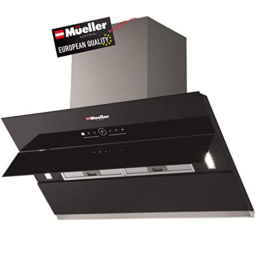 Mueller Deluxe 36″ High Air Flow Modern Eurocentric Style Wall Mount Satin Finish & Black Tempered Glass LED Touch Control Oven Range Hood Vent Cooking Fan