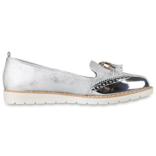 napoli-fashion - Mocasines Mujer plata