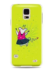 GRÜV Premium Case - 'Cute Funny Cartoon Princess Mouse' Design - Best Quality Designer Print on White Hard Cover - for Galaxy S5 i9600 G900 G900A G900T G900M, G900F