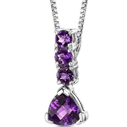 Amethyst Pendant Necklace Sterling Silver Trillion Round Combination 2.25 Carats