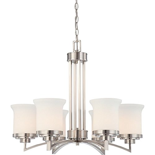 Nuvo Lighting Harmony 6 Light Chandelier w/ Satin White Glass 60-4105 supplier_id_shop_freely ,ket320120919442797